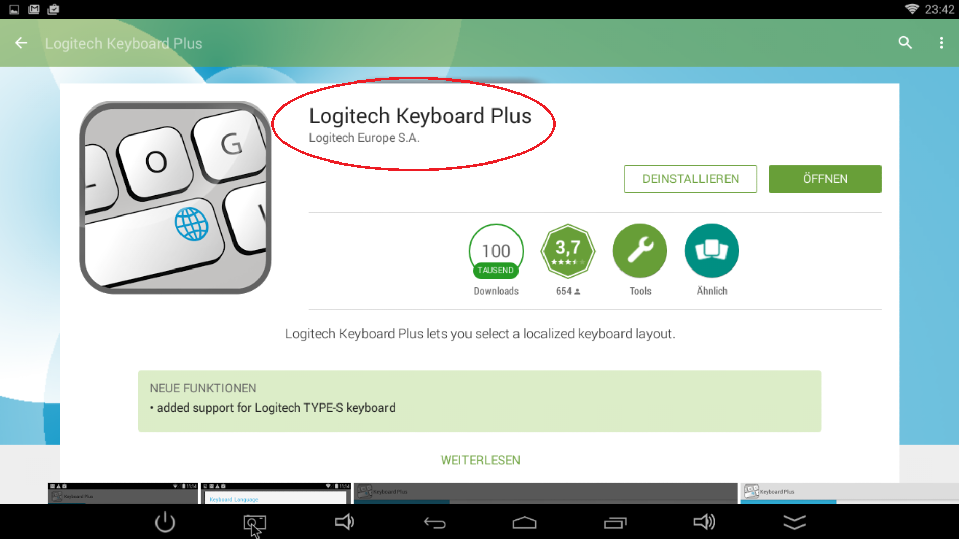 App Logitech Keyboard Plus shown at Google Play Store
