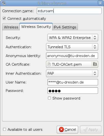 Screenshot of the authentication dialog of network-manager